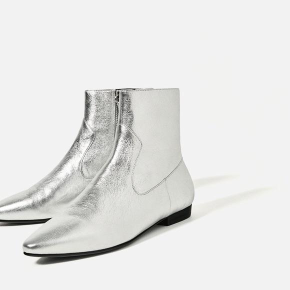 af6d891de Zara Shoes | Metallic Silver Laminated Leather Boots | Poshmark
